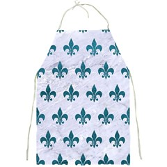 Royal1 White Marble & Teal Leather Full Print Aprons by trendistuff