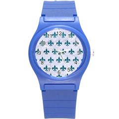 Royal1 White Marble & Teal Leather Round Plastic Sport Watch (s) by trendistuff
