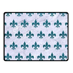 Royal1 White Marble & Teal Leather Double Sided Fleece Blanket (small)  by trendistuff