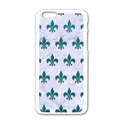 Royal1 White Marble & Teal Leather Apple Iphone 6/6s White Enamel Case by trendistuff