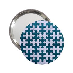 Puzzle1 White Marble & Teal Leather 2 25  Handbag Mirrors by trendistuff