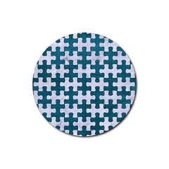 Puzzle1 White Marble & Teal Leather Rubber Round Coaster (4 Pack)  by trendistuff