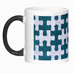 Puzzle1 White Marble & Teal Leather Morph Mugs by trendistuff