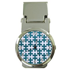 Puzzle1 White Marble & Teal Leather Money Clip Watches by trendistuff