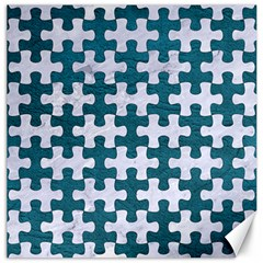 Puzzle1 White Marble & Teal Leather Canvas 16  X 16   by trendistuff