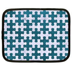 Puzzle1 White Marble & Teal Leather Netbook Case (xl)  by trendistuff
