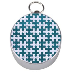 Puzzle1 White Marble & Teal Leather Silver Compasses by trendistuff