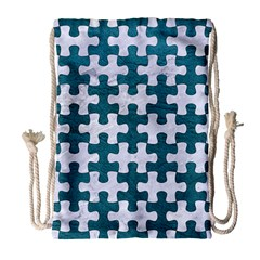 Puzzle1 White Marble & Teal Leather Drawstring Bag (large) by trendistuff