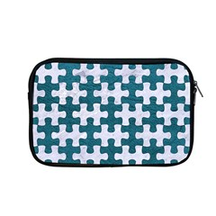 Puzzle1 White Marble & Teal Leather Apple Macbook Pro 13  Zipper Case by trendistuff