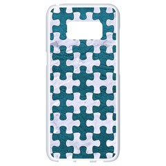 Puzzle1 White Marble & Teal Leather Samsung Galaxy S8 White Seamless Case by trendistuff