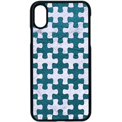 Puzzle1 White Marble & Teal Leather Apple Iphone X Seamless Case (black)