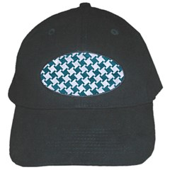 Houndstooth2 White Marble & Teal Leather Black Cap