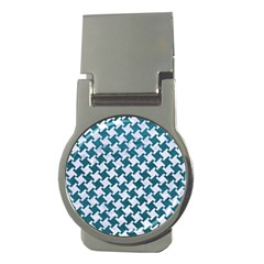 Houndstooth2 White Marble & Teal Leather Money Clips (round)  by trendistuff