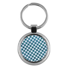 Houndstooth2 White Marble & Teal Leather Key Chains (round)