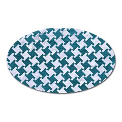 Houndstooth2 White Marble & Teal Leather Oval Magnet by trendistuff