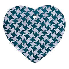 Houndstooth2 White Marble & Teal Leather Heart Ornament (two Sides) by trendistuff