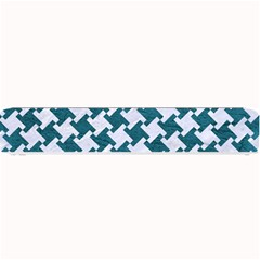 Houndstooth2 White Marble & Teal Leather Small Bar Mats by trendistuff