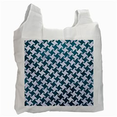Houndstooth2 White Marble & Teal Leather Recycle Bag (two Side)  by trendistuff
