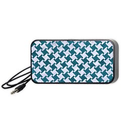 Houndstooth2 White Marble & Teal Leather Portable Speaker by trendistuff