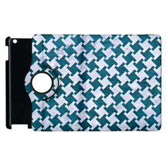 Houndstooth2 White Marble & Teal Leather Apple Ipad 2 Flip 360 Case by trendistuff