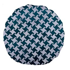 Houndstooth2 White Marble & Teal Leather Large 18  Premium Round Cushions by trendistuff