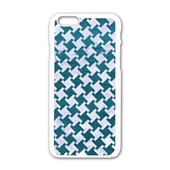 Houndstooth2 White Marble & Teal Leather Apple Iphone 6/6s White Enamel Case by trendistuff
