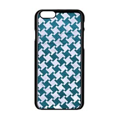 Houndstooth2 White Marble & Teal Leather Apple Iphone 6/6s Black Enamel Case by trendistuff