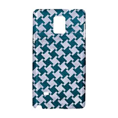 Houndstooth2 White Marble & Teal Leather Samsung Galaxy Note 4 Hardshell Case by trendistuff