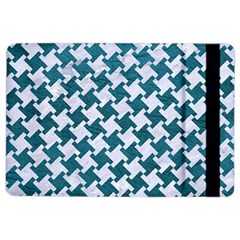 Houndstooth2 White Marble & Teal Leather Ipad Air 2 Flip by trendistuff