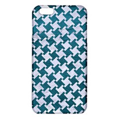 Houndstooth2 White Marble & Teal Leather Iphone 6 Plus/6s Plus Tpu Case by trendistuff