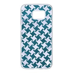 Houndstooth2 White Marble & Teal Leather Samsung Galaxy S7 Edge White Seamless Case by trendistuff