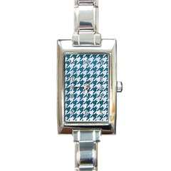 Houndstooth1 White Marble & Teal Leather Rectangle Italian Charm Watch by trendistuff