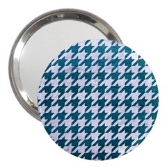 Houndstooth1 White Marble & Teal Leather 3  Handbag Mirrors by trendistuff