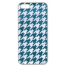Houndstooth1 White Marble & Teal Leather Apple Seamless Iphone 5 Case (clear) by trendistuff