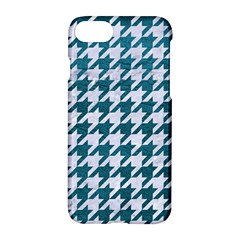 Houndstooth1 White Marble & Teal Leather Apple Iphone 8 Hardshell Case by trendistuff