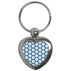 Hexagon2 White Marble & Teal Leather (r) Key Chains (heart)  by trendistuff