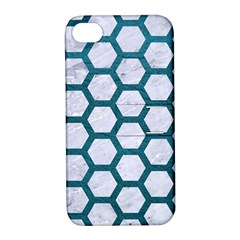 Hexagon2 White Marble & Teal Leather (r) Apple Iphone 4/4s Hardshell Case With Stand by trendistuff