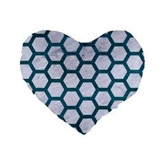 Hexagon2 White Marble & Teal Leather (r) Standard 16  Premium Flano Heart Shape Cushions by trendistuff