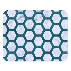 Hexagon2 White Marble & Teal Leather (r) Double Sided Flano Blanket (large)  by trendistuff
