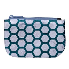 Hexagon2 White Marble & Teal Leather (r) Large Coin Purse by trendistuff