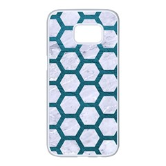 Hexagon2 White Marble & Teal Leather (r) Samsung Galaxy S7 Edge White Seamless Case by trendistuff