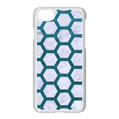 Hexagon2 White Marble & Teal Leather (r) Apple Iphone 7 Seamless Case (white) by trendistuff