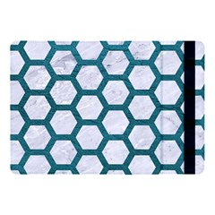 Hexagon2 White Marble & Teal Leather (r) Apple Ipad Pro 10 5   Flip Case by trendistuff