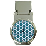 HEXAGON2 WHITE MARBLE & TEAL LEATHER Money Clip Watches Front