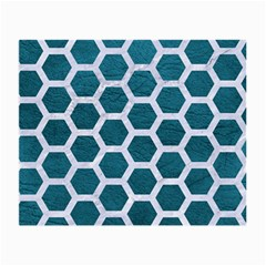 Hexagon2 White Marble & Teal Leather Small Glasses Cloth (2 Side) by trendistuff