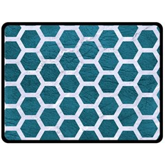 Hexagon2 White Marble & Teal Leather Fleece Blanket (large)  by trendistuff