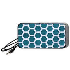 Hexagon2 White Marble & Teal Leather Portable Speaker by trendistuff