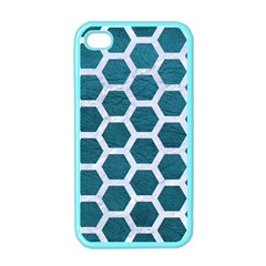 Hexagon2 White Marble & Teal Leather Apple Iphone 4 Case (color) by trendistuff