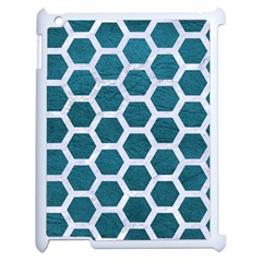Hexagon2 White Marble & Teal Leather Apple Ipad 2 Case (white) by trendistuff