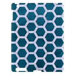 Hexagon2 White Marble & Teal Leather Apple Ipad 3/4 Hardshell Case by trendistuff